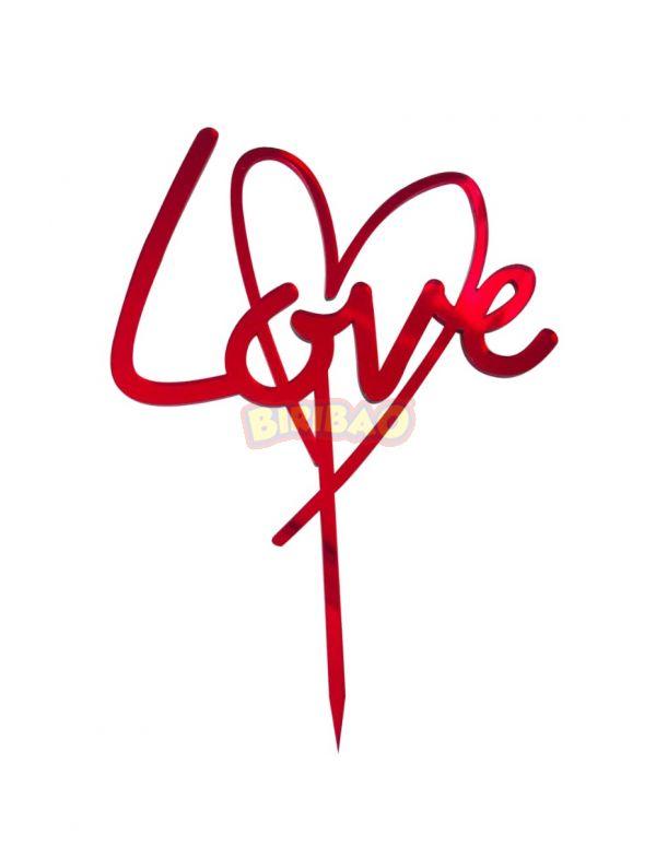 Cake Topper in Plexi Rosso Specchiato - Love con cuore